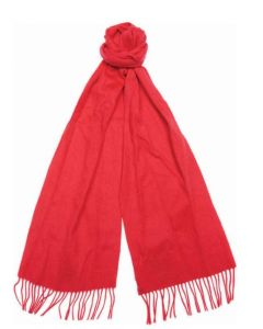 Barbour Lambswool Scarf Costal Red