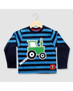 Tractor Ted Striped Applique T Shirt Blue