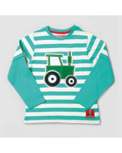 Tractor Ted Striped Applique T Shirt Teal